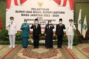 Wali Kota Batam, H. Muhammad Rudi menghadiri pelantikan Bupati Natuna dan Wabup Natuna, Senin (24/5/2021).